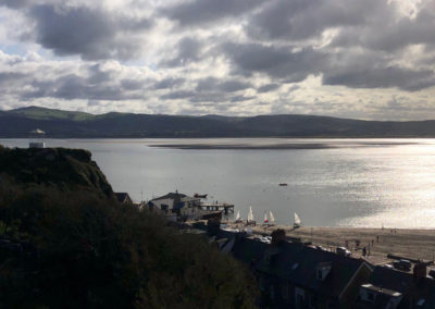 View of the Bandstand and Dovey Yacht Club, Aberdovey
