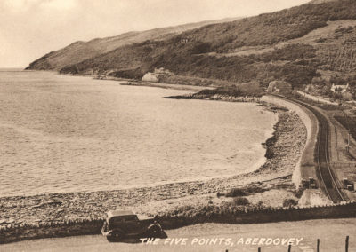Black and white photo - The Five Points, Aberdovey