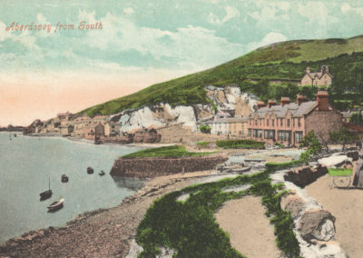 Early 1900's hand coloured photo - entering Aberdovey from the east