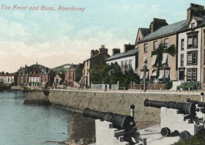 Hand coloured photo - The Front and Guns, Aberdovey