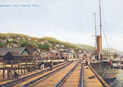 Hand coloured photo - Aberdyfi Pier & Marconi Yacht