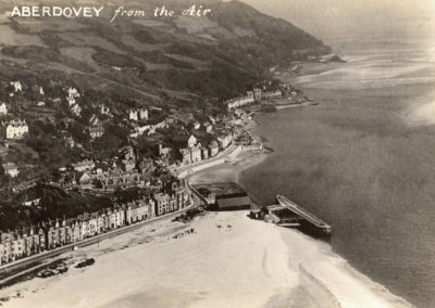 Black and white photo - Aberdyfi from the Air