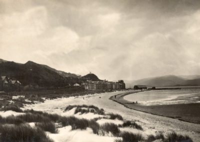 Black and white photo - Aberdovey from the Sand Dunes
