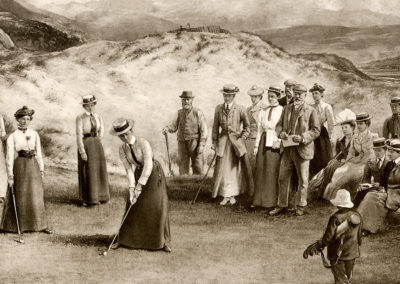 Painting - Ladies Championship at Aberdyfi Golf Course in 1901 - The Winner Miss M Graham of Hoylake is Putting