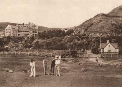 Black and white photo - Trefeddian Hotel from Golf Links, Aberdyfi