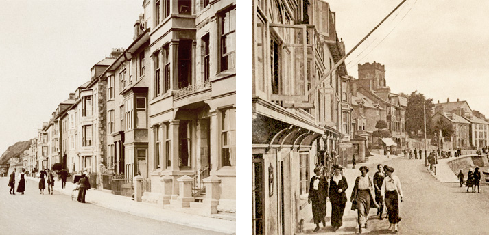 2 black and white photos - Photo of Glandovey Terrace, and photo of Victorian ladies on the High Street