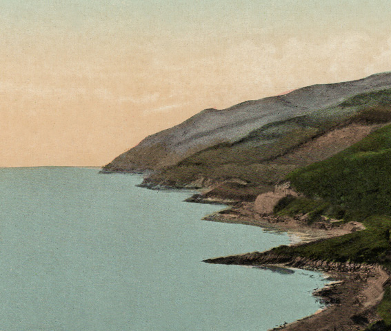 Hand coloured photo of the Dyfi estuary looking west and the five points