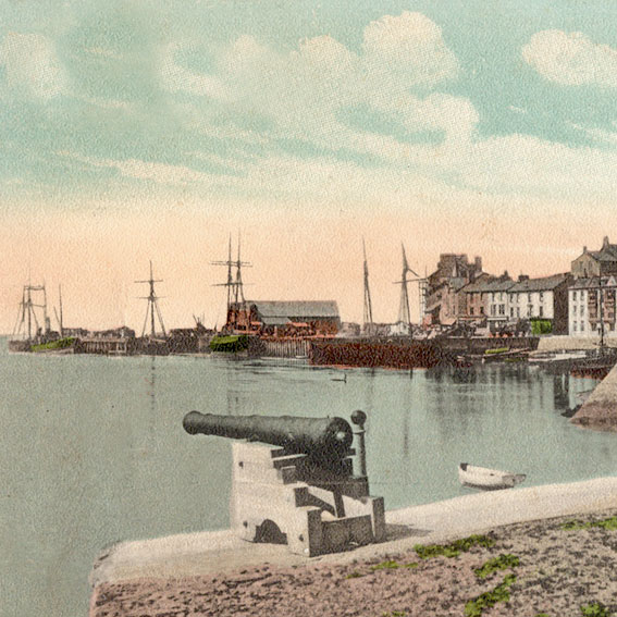 Hand coloured photo looking west from the cannons in Church Bay, Aberdovey at high tide