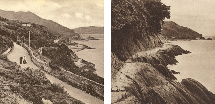 2 black and white photos - Easterly view of main road and estuary, and photo of earlier coastal road footpath