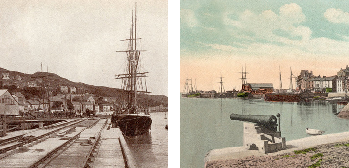 2 old photos - Aberdovey jetty rail tracks and Cargo Clipper, and hand coloured photo looking west from cannons in Church Bay