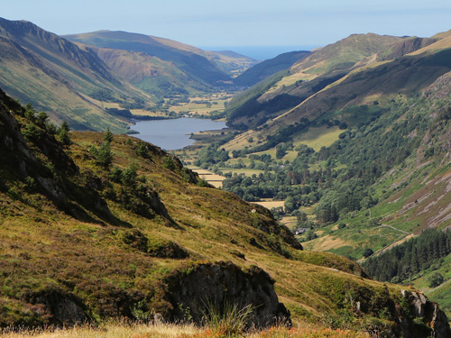 Photo of Tal-y-llyn lake and valley leading to the sea - photograph by Simon Jones